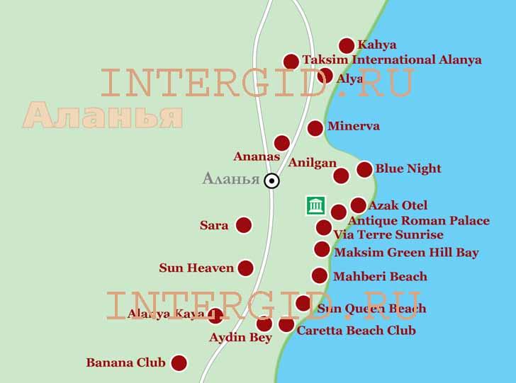 Схема расположения отелей в