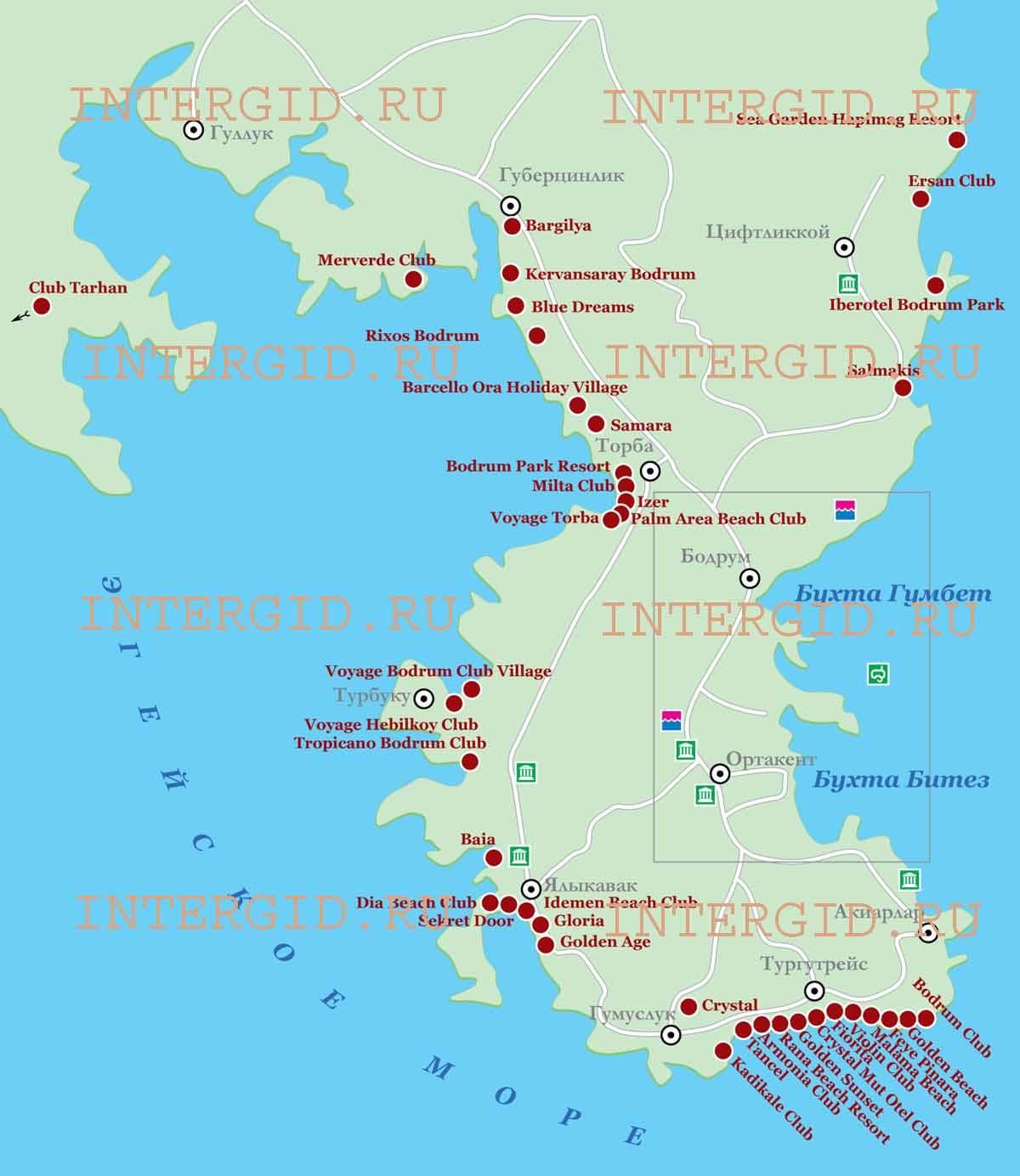 Карта курортной зоны г бодрум турция