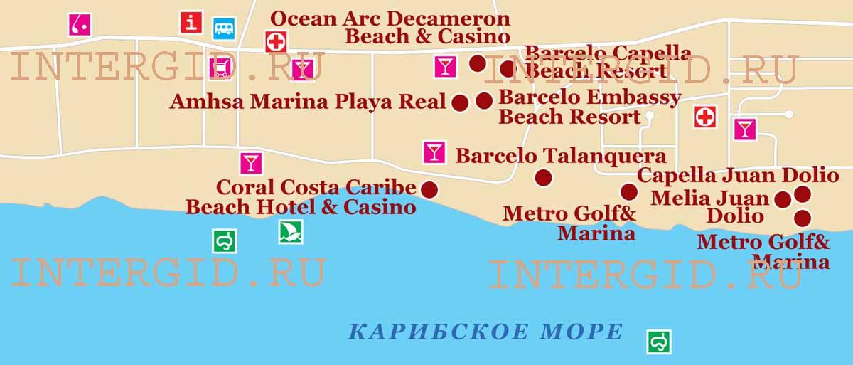 Схема расположения отелей Хуан