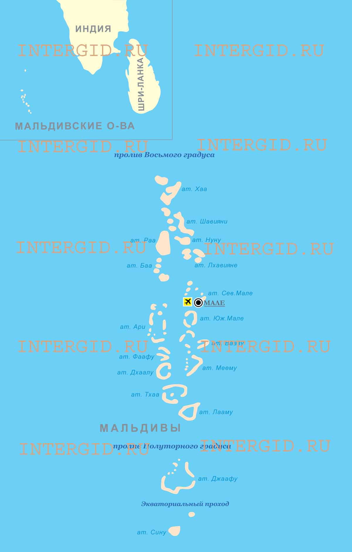 Общая карта мальдивских островов