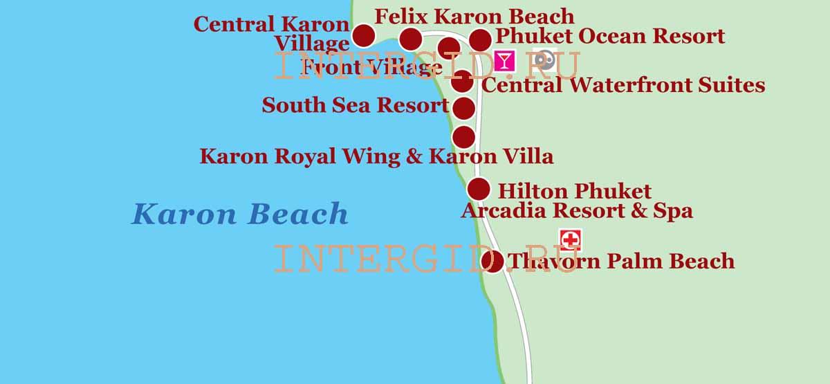 Карта пляжа Карон Бич (Пхукет,