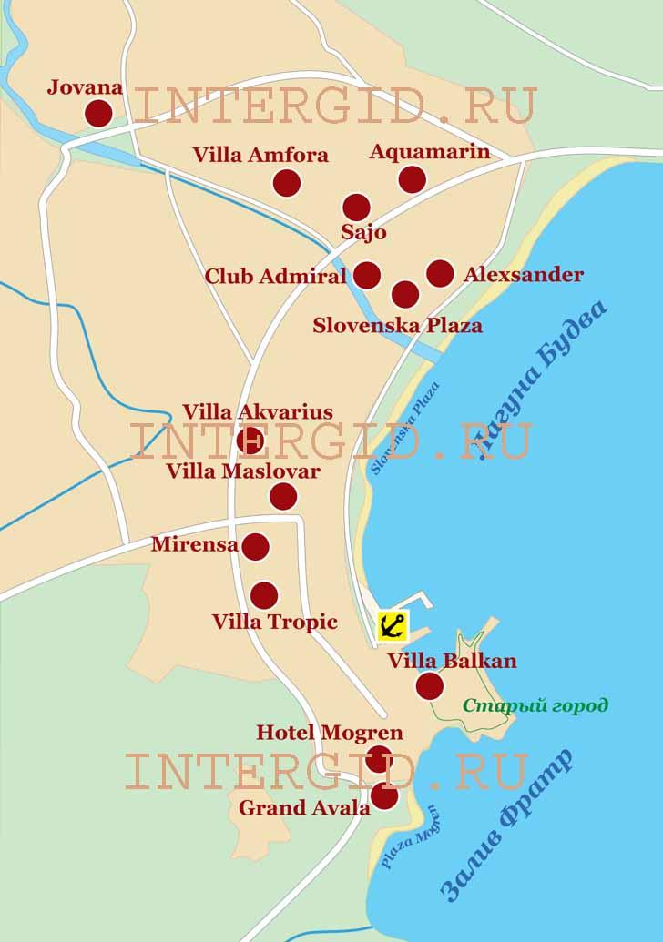 Схема расположения отелей.
