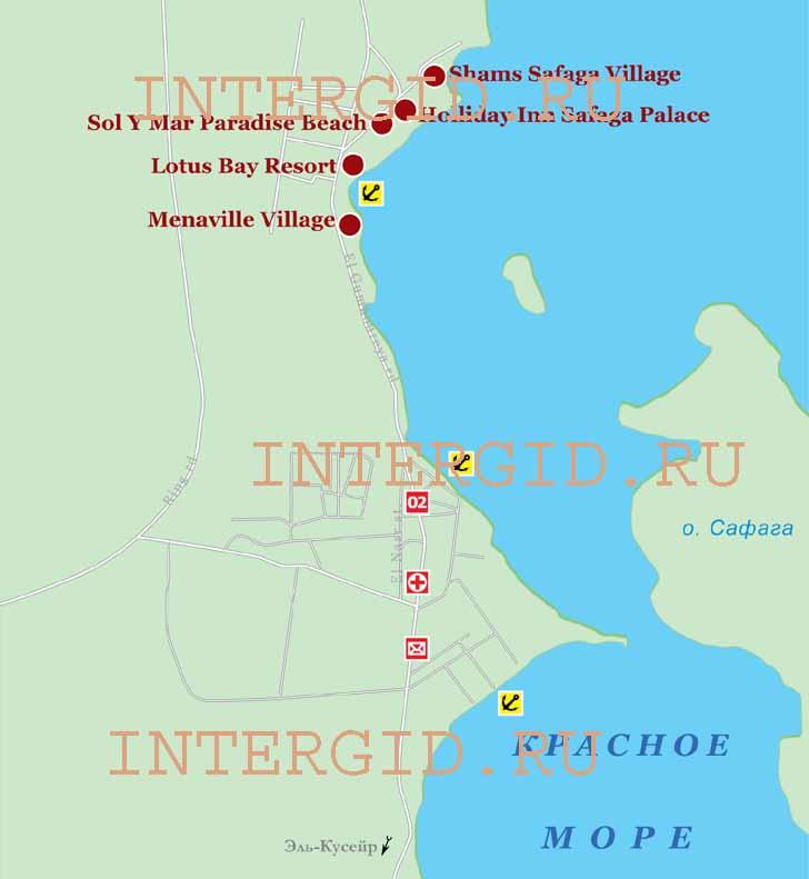 Схема расположения отелей