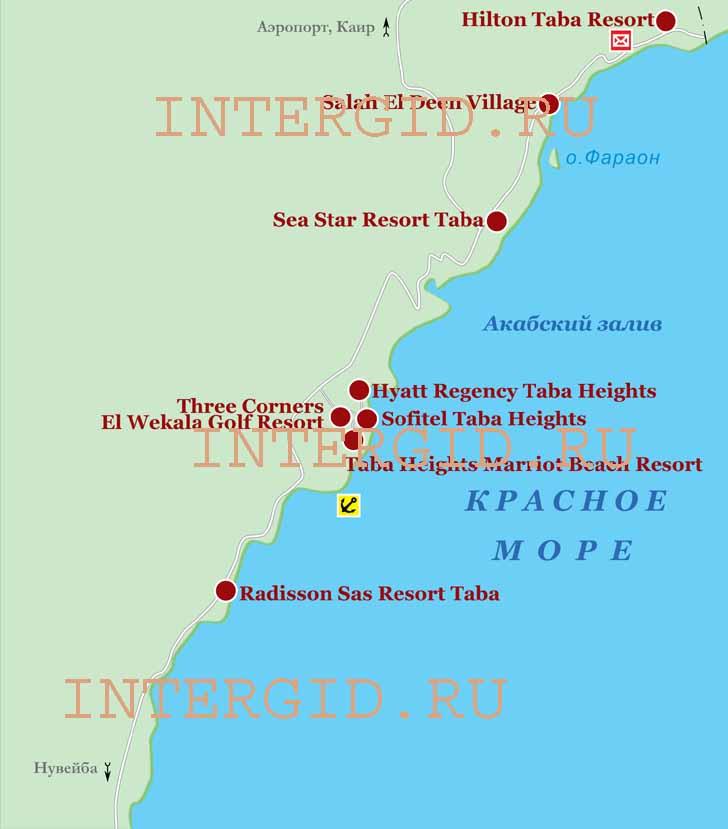 Карта Табы. Схема расположения