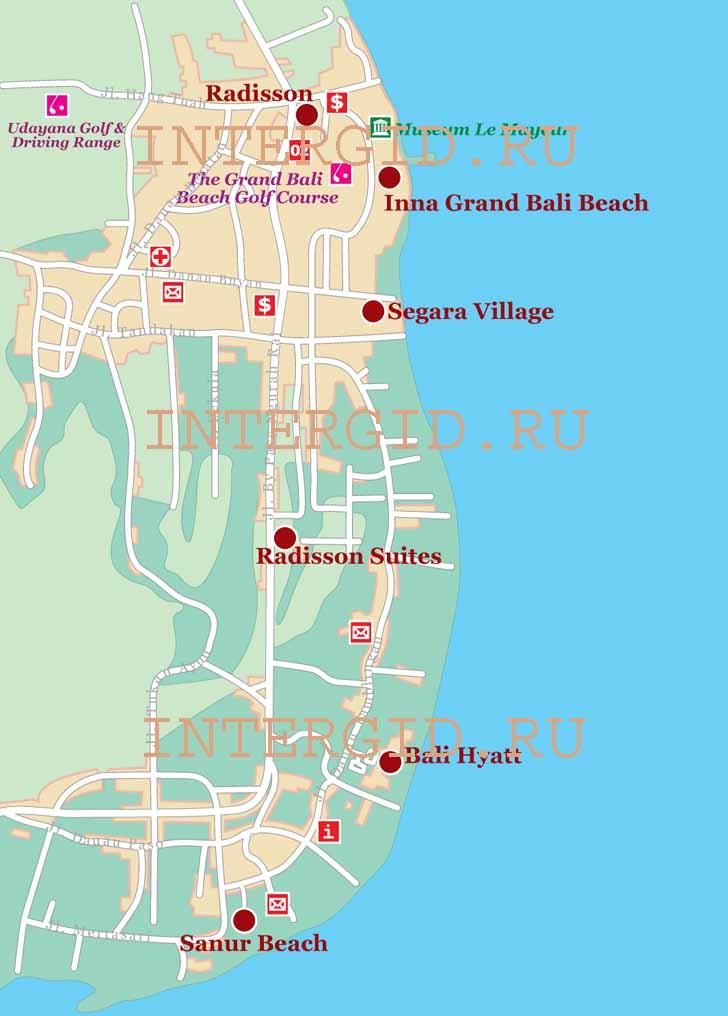 Схема расположения отелей на